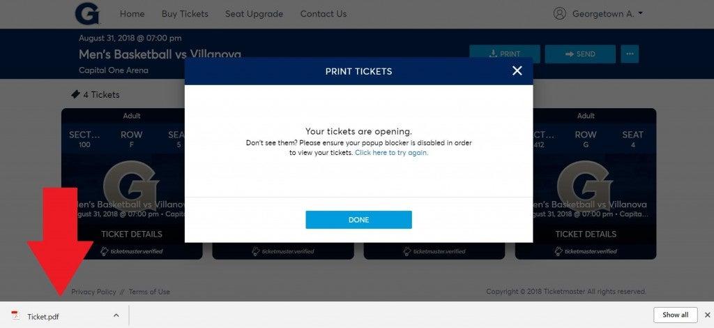 tickets downloaded arrow